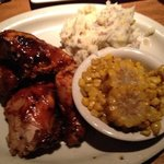 """Smoasted"" chicken, roasted corn and mashed potatoes"