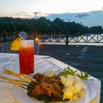 Tropical drink, beef satay, sunset and the beach - from the Beach House (hotel bar)