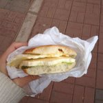 Yummy avocado and cheese sandwich just sold right outside the hotel!
