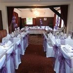 Beautifully decorated restaurant for wedding reception