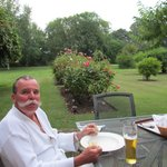 Husband enjoying dinner in the garden