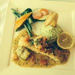 Sea Bass with Shrimp Entree