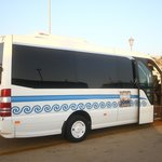 The hotels largest bus that will take you back and forth to Mykonos from the hotel. It will take