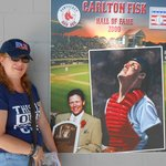 Yours truly in front of poster of her childhood idol, Carlton Fisk