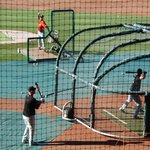 Batting practice at McCoy Stadium