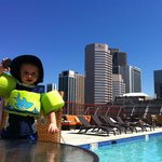 My son at the pool loving his Oreos...