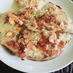 open faced shrimp quesadilla