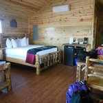 Inside cabin w/2 queen beds