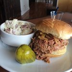 Carolina style (vinegar based) pulled pork sandwich!