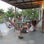 2nd floor veranda, plenty hammocks and great views