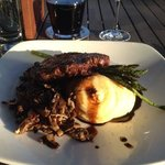 ribeye with asparaus, whipped potatoes and wild mushrooms!