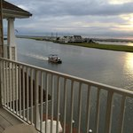 View from balcony (worth the extra $$).  You can see Wallops Island and other side of bay.