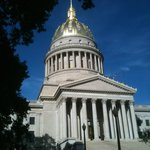 West Front of WV State Capitol with gleaming gold dome