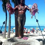 Duke Kahanamoku statue at beach 2 blocks away