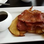 Blueberry pancake with bacon. Yummy