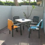 Small Patio With Table & Chairs and 2 Lounges