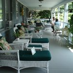 Porch where breakfast is served overlooks Frenchmen's Bay