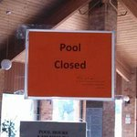 Pool Out of order sign, apprarently for months
