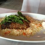 Ground spiced lamb and beef over a nice pilaf.