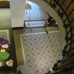 antique staircase and tiled floor
