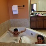 Kids loving the Jacuzzi (2 bedroom suite)