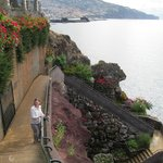 The stairs down to the pool area with Funchal in the background