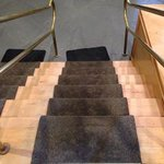 Dirty and worn stairway carpet--from lobby