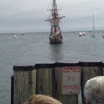 Antique Merchant ship comes to pier