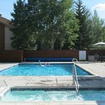 outdoor pool with ADA hot tub close by