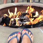 Fire pit warming my toes