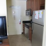 Kitchen area; full sized refrigerator, microwave & dishwasher