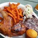 Chicken, ribs and sweet potato fries