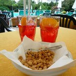 Campari Soda and snack at the Pool Bar