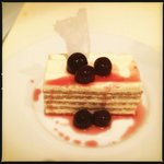 Lime crepe cake with citrus cream & griotte cherries soaked in bourbon