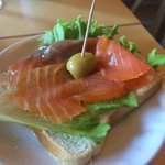 Breakfast - Smoked salmon sandwich made by the lady chef of the hotel. Delicious!
