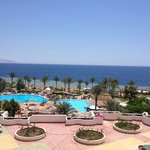 View of the animation pool and sea from the royal grand sharm