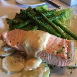 Poached salmon with crispy asparagus.