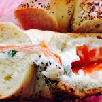 Everything bagel with lox and chive cream cheese