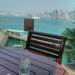 View across the Avenue of Stars to Hong Kong Island from the poolside cafe