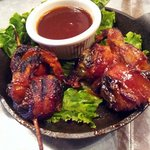 skewered bacon-wrapped jalapeno shrimp w/ Dr. Pepper BBQ sauce