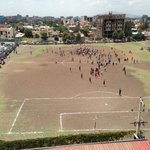 View of the weekend football match behind the hotel