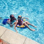 my girls in the pool
