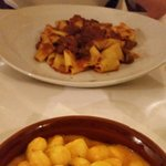Gnocchi with sweet peppers sauce and pappardelle with guanciale. Amazing!