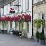 Lovely flower baskets outside the Red Lion.