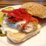 New Mexico Chicken with queso sauce, roasted green chillies and pickled red onions
