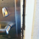 Cracked front door - unsafe!!