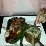Veal Porterhouse with mushroom risotto and grilled asparagus