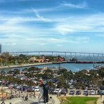 A view from the flight deck - Coronado Bridge and welcome home sailor in the fore ground
