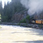 Steam train & river in Durango