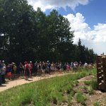 The line to get on the chairlift